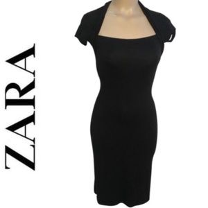Zara Black Short Sleeve Dress S